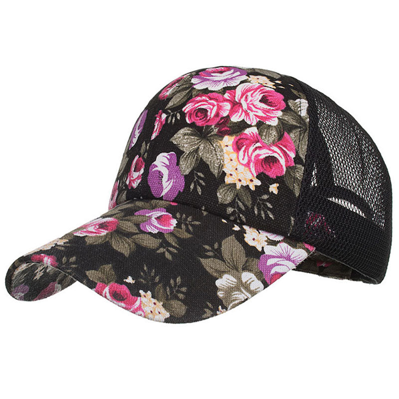 Printed Flower Trucker Cap Mesh Back Eyelet Net Baseball Caps Summer Women Hats Black Beige Red Blue