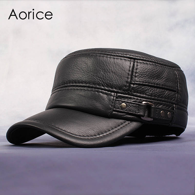 3045d30043c74 Cow Leather Flat Peak Baseball Cap Hats for men winter warm army hat  adjustable ear flat black brown cap HL064