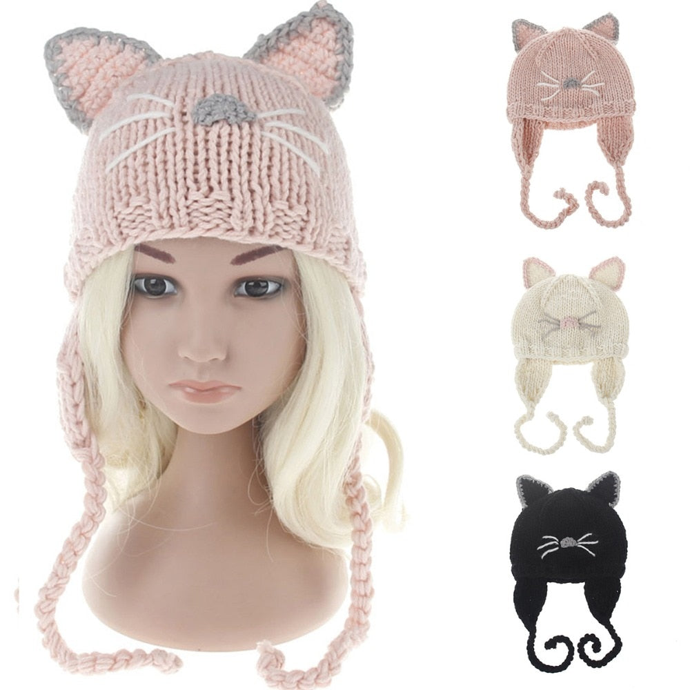 1208330ddc1 Winter Baby Cute Cat Nose Ear Protection Braids Beanie Hat Cap Round Warm  Casual Knitted Crochet Cap for Kids Girls