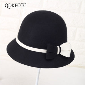 9dc2738960918 2018 Autu Winter 100% Wo Fedoras Mixed Colors Butterfly Hat Elegant England  Fashion Small Round Cap Casual Hats