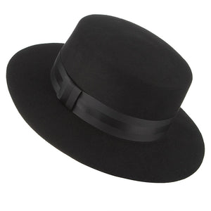 Autumn Winter High Quality Wide Brim Fedoras Men Jazz Hat Black Flat Brim Felt Cap Wo For Fashion Women Jewish Hat