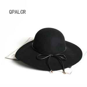 High Quality Wo Fedoras Hat Ladies Fashion Belt Bow Wide Brim Wo Felt Hats Dome Black Trilby Holiday Visor Caps