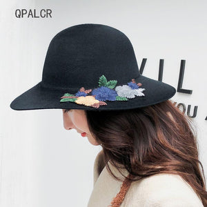 New Winter Wo Fedora Hats For Women Vintage Floppy Hat Embroidered Flower  Patch Top Hat Wide 2f3e17e5aca