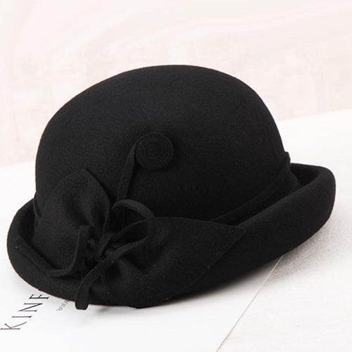 Winter Hat Women Elegant Wo Felt Fedora Hats Fascinator Flowers Vintage Hat Black Church Cap For Autumn Ladies Fedoras