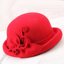 Load image into Gallery viewer, Winter Hat Women Elegant Wo Felt Fedora Hats Fascinator Flowers Vintage Hat Black Church Cap For Autumn Ladies Fedoras