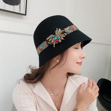 Load image into Gallery viewer, Winter Wo Felt Hat For Women's Bohemia Ribbon Floral Female Fisherman's Basin Cap Ladie Vintage Topper Black Fedora Hat