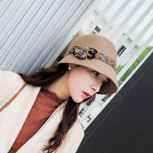 Winter Wo Felt Hat For Women's Bohemia Ribbon Floral Female Fisherman's Basin Cap Ladie Vintage Topper Black Fedora Hat