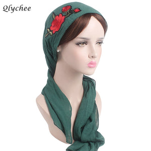 3496bf674ad Colorful Muslim Chemo Hat Embroidery Floral Women Skullies Beanies Trendy  Religious Female Hats