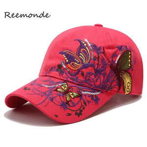 Summer Embroidered Baseball Cap Fashion Shopping Cycling Visor Sun Hat Women Lady Snapback Hip Hop Cot Sport Caps