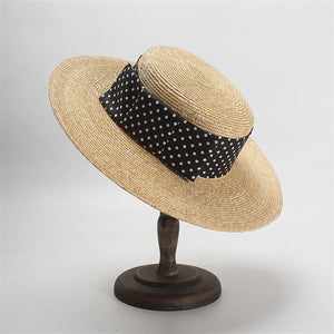 Women Summer Straw Hat Dot Bow-Knot Beach Sun Hat Ladies Vintage Boater Hats Sombrero Playa Mujer