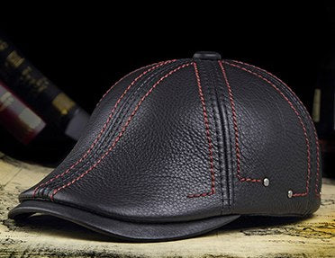 RY0305 Deluxe Winter Genuine Leather Black Beret Caps For Man Top Cowhide Leisure Cabbie Hats With Red Line Boinas Para Hombres
