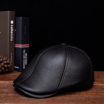 RY103 Man 2017 Winter Fashion Genuine Leather Black/Brown Fitted Beret Hat Male Duckbill Head Protection Gorro Forward Caps