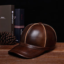 Load image into Gallery viewer, RY124 Novelty Winter Men's Warm Genuine Leather Stitching Baseball Caps Male Leisure Black/Brown Ear Hooded Hat Man Golf Gorras
