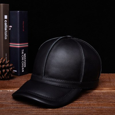 RY124 Novelty Winter Men's Warm Genuine Leather Stitching Baseball Caps Male Leisure Black/Brown Ear Hooded Hat Man Golf Gorras