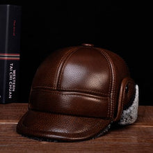 Load image into Gallery viewer, RY127 Branded Man's Winter Genuine Leather Bomber Hat Male Ear Protecrion Faux Fur Black/Brown Casquette Trucker Baseball Caps