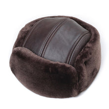 Load image into Gallery viewer, RY964 Male Winter Genuine Leather Faux Fur Black/Brown Bomber Hat For Men Ear Head Warm Moto Caps For Dad Dome Gorras Hombre