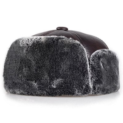 RY996 2020 Winter Men Genuine Leather Super Thick Velvet Inside Bomber Hats Male Head Ear Warm Black/Brown Faux Fur Truck Caps
