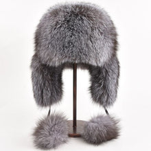 Load image into Gallery viewer, Real Fox Fur hat Bomber Hats Raccoon Fur Hats Women Men Warm Genuine Fur Female Brown Natural Fur Unisex Russian Bomber Winter