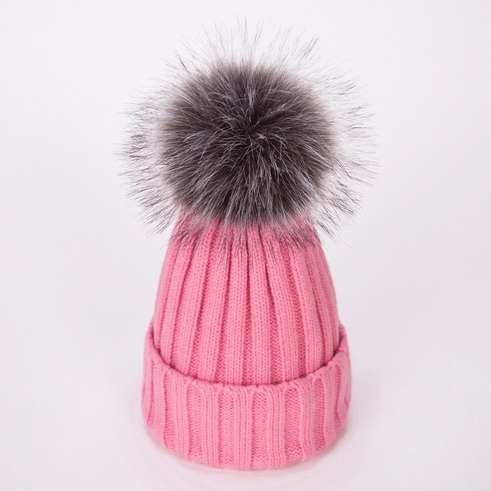 a20a1aec29a Real Fur Winter Hat Raccoon Pom Pom Hat For Women Brand Thick Women Hat  Girls Caps Knitted Beanies Cap Wholesale 2018 new