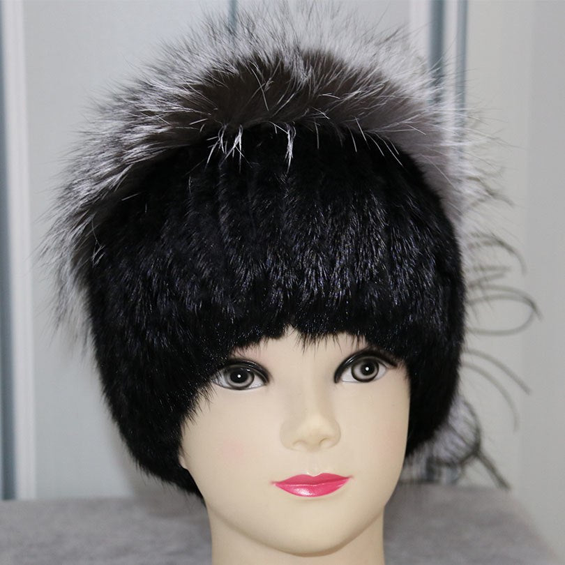 Real Mink Fur Hats For Women Trendy Brand Winter Genuine Fox Fur Beani Pompom Hat Warm Thick Fur Knitted Hats Russian Beanies