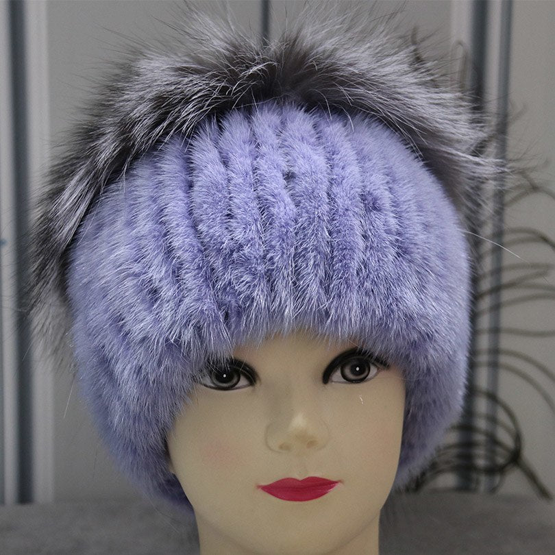 Real Mink Fur Pom Pom Hats For Women Trendy Winter Warm Hats With Fox Fur Ball Hot Sale Knitted Beanies Genuine Fur Hat Pompons