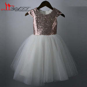 Real Photo 2016 Cheap Flower Girl Dress Ball Gown Princess Rose Gold Sequins Beige Tulle Pageant Fir Communion Dress For Girls