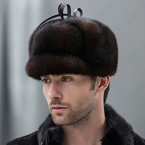 Real Whole Men Mink Fur Hat Russian-Style Winter Men Warm Fur hat Luxury Super Warm Ear  Bomber Fur Genuine Mink Cap MZ-01