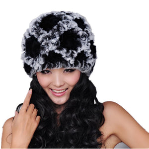 129bb44cb6c18a Real fur caps for women winter fall warm knitted natural rex rabbit fur hats  thicken black gray white beanies H108