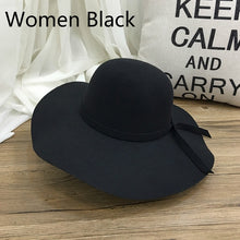 Load image into Gallery viewer, Retro Autu Winter Hats for Women Girls Soft Vintage Wo Felt Bowler Fedoras Solid Ladies Floppy Cloche Wide Brim Hats Caps