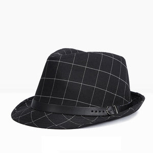eb6ab84dff3a3 Retro Fedoras Hat for Women And Men Summer Man Hat Classic Version Jazz  Plaid Hat With Black Belt Casual Flat Brim JAMONT