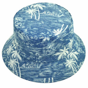 Reversible Denim Bucket Hat for Men Coco Tree Printed Panama for Women Summer Autu Cot Reversible Hat