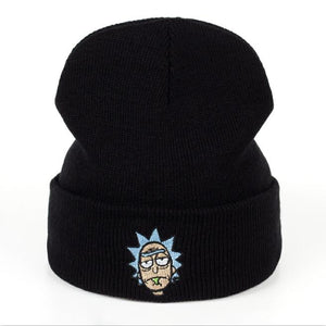 5c4b6d6454542 Rick Beanies Rick and Morty Hats Elastic Brand Embroidery Warm Winter  Unisex Knitted Hat Skullies US Animation Ski Gorros Cap