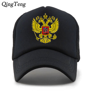 Russia Emblem Breathable Mesh Baseball Caps Leisure Men Women Outerdoor Sun Hat Caps Russia Football T Cap