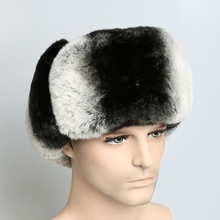 636af368ebd7c Russian Fur cap Warm autu winter cap with natural rex rabbit fur and  leather. luxury men 3 colors Ushanka bomber hat H201