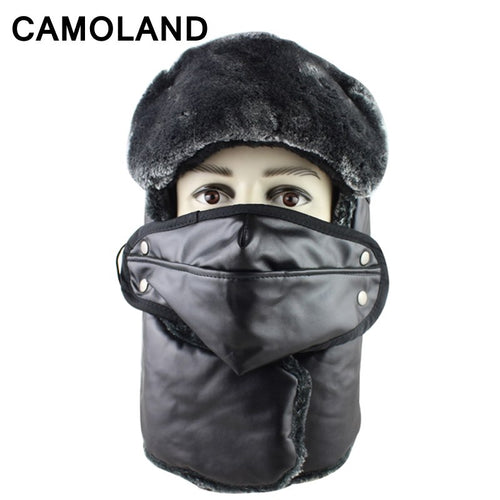 Russian Trapper Pu leather Warm Trooper Winter Cap Women Men Bomber Hats Plush Ear Flaps Breathable Mask Neck Thicken Scarf Set