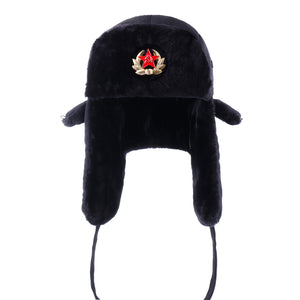 b6a5a586 Russian Ushanka Soviet Army Military Badge Bomber Hats Pilot Trapper  Aviator Cap Winter Faux Fur Earflap