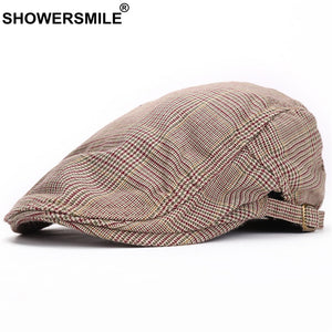 Beret Khaki Men Cot Adjustable Plaid Flat Caps Women Classic Vintage Checkered Casual Autu Winter Duckbill Hat