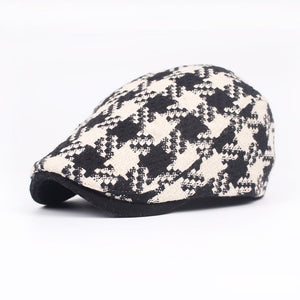 Brand Gray Wo Tweed Cap Berets Autu Winter Vintage Checkered Brown Peaked Caps For Mens Women New Duckbill Cap