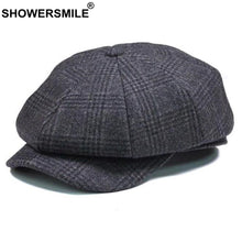 Load image into Gallery viewer, Brand Plaid Newsboy Cap Men Vintage Wo Octagonal Cap Male Warm Winter Painter Hat Grey British Style Caps And Hats