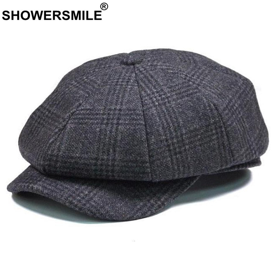 Brand Plaid Newsboy Cap Men Vintage Wo Octagonal Cap Male Warm Winter Painter Hat Grey British Style Caps And Hats