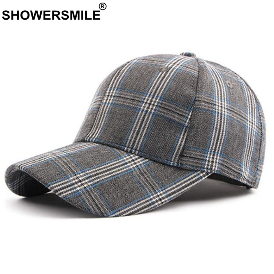 Khaki Baseball Caps Women Men Plaid Vintage Adjustable Snapback Caps Classic England Style Summer Autu Sun Hats