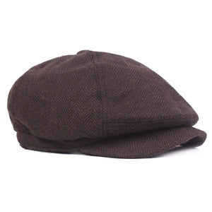 Men Newsboy Hat Women Herringbone Flat Cap 2020 Autumn Winter Brown Vintage Brand Cap Gatsby Beret Hat