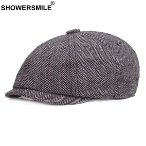 52ee5f609e0 Newsboy Caps Man Cot Vintage Herringbone Driver Cap Spring Gray Tweed  Striped British Style Octagonal Beret Hat