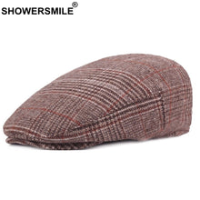 Load image into Gallery viewer, Plaid Beret Hats Women Khaki Checkered Duckbill Hat Men Vintage Casual Caps Classic Wo British Winter Flat Caps