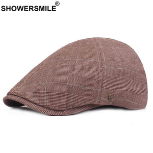 Plaid Flat Caps Men Khaki Cot Houndstooth Beret Hat Male Vintage British Style Casual Autu Duckbill Hat Fashion