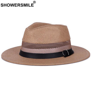 Straw Fedora Hat Men Khaki Breathable Jazz Hat Women Casual Btitish Style Sun Cap Vintage Summer Autu Panama Caps