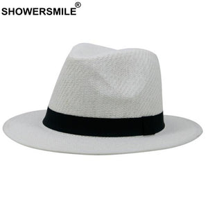 f9383ee9a39 White Straw Panama Hat Women And Men Breathable Summer Sun Hats Ladies Beach  Solid Wide Brim