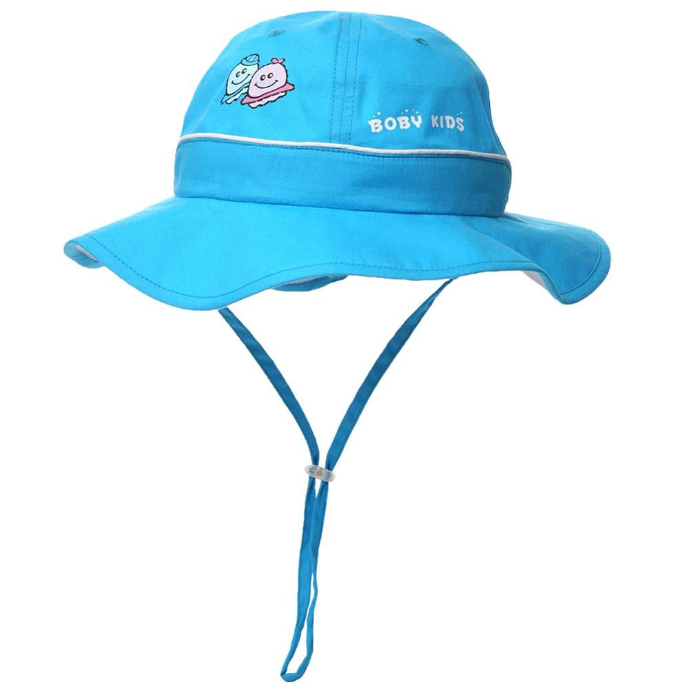 100%Cotton Girl UPF50+ Boy Bucket Cap Children Sun Hat Foldable 51-53CM 4-10 Years Kid Chin Cord Floppy Breathable 69017