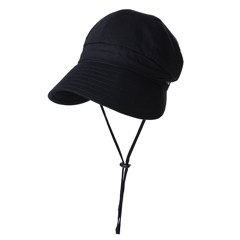Spring Casual Berets Sun Hat Solid Cotton Soft Brim Windproof Rope Sweatband Adjustable For Women 99048