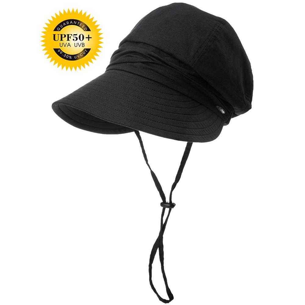 Women summer sun hat visor linen bucket packable wide brim UPF50+ uv ... 55a29a38842